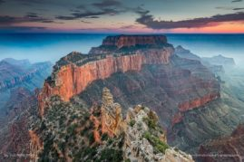 Wotans Throne at the North Rim of the Grand Canyon - The canyon was filled with smoke from a nearby fire which provided for an eerie glow