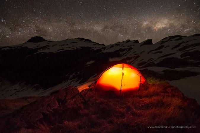 Lake Barra camp, Mount Aspiring National Park, New Zealand.
