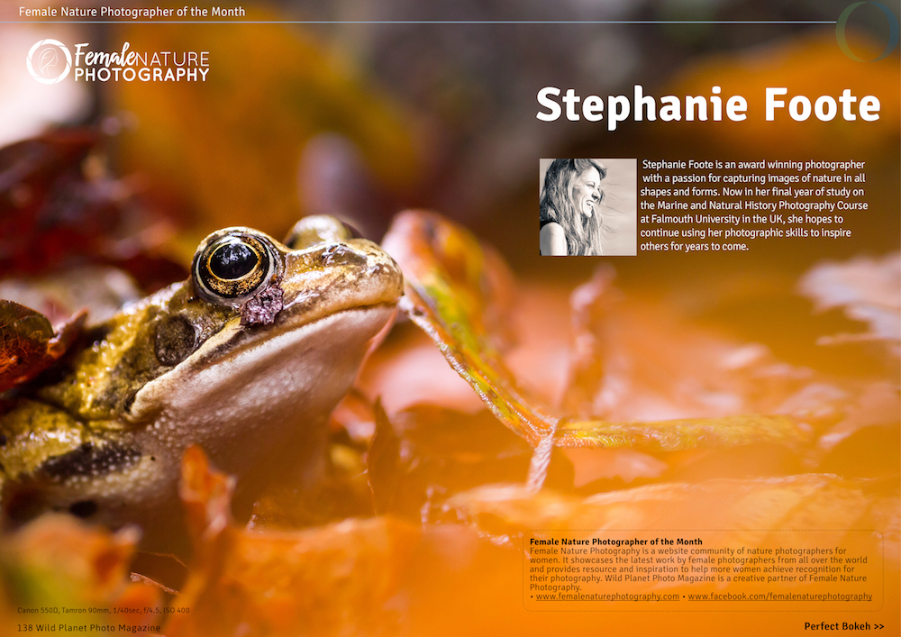 Female nature photographer of the month April 2017 Stephanie Foote