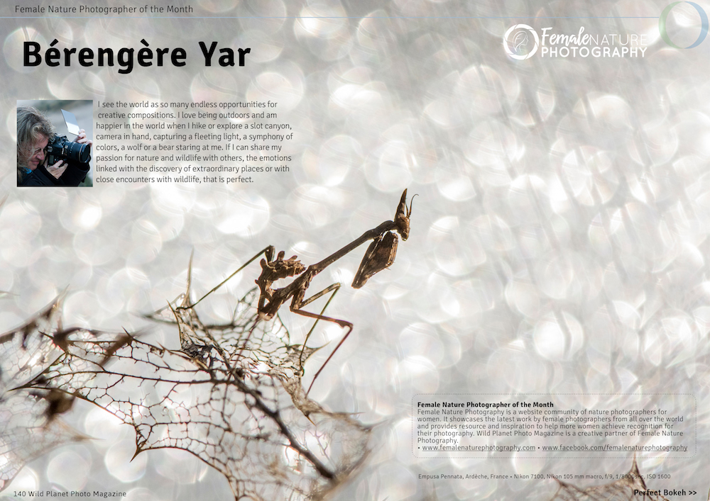 Female nature photographer of the month March 2017 Berengere Yar