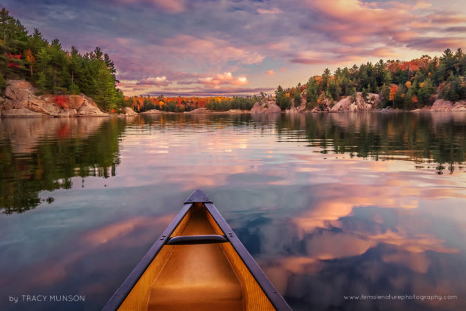 Sunset Paddle: An incredible sunset moment, as we paddled George Lake on our last evening in Killarney Provincial Park, Ontario.