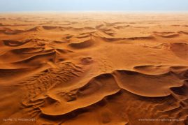 Red Sand Dunes Namib Areal View. Namib Desert in Namibia