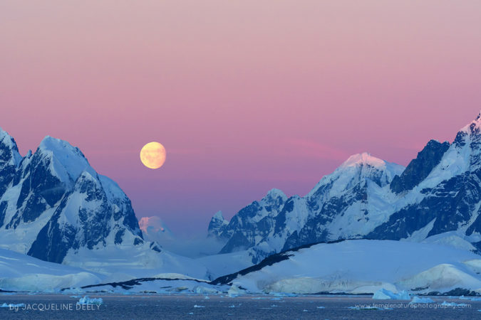 Antarctic Sunset & Moon