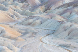 Pastel badlands at twilight in Death Valley National Park