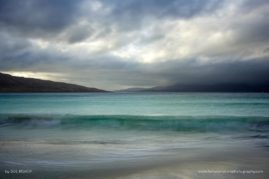 Stormy sky over luskentyre beach looking towards Taransay